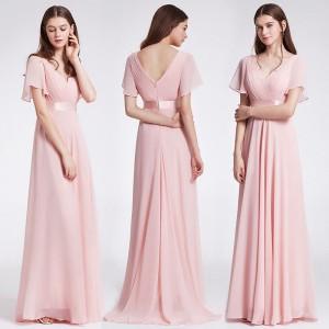 Okouzlující společenské, plesové dámské šaty s rukávky 9890 - jemně růžové