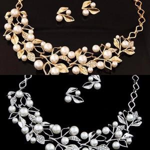 Luxusní perlový set - náhrdelník + náušnice žluté a bílé zlato, krystal