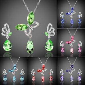 Dámský set - náhrdelník + náušnice Swarovski krystal motýl - 6 barev