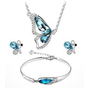 Dámský set - náhrdelník + náušnice + náramek Swarovski krystal motýl