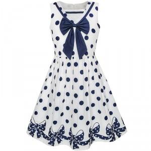 Dětské, dívčí bílé letní šaty s puntíky a mašlí