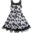 Dětské, dívčí slavnostní šaty bíločerné s kytkami