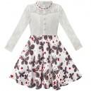 Dětské, dívčí slavnostní šaty s krajkou a dlouhými rukávy