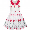 Dětské, dívčí letní bílé šaty s růžemi