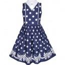 Dětské, dívčí tmavě modré letní šaty s puntíky a mašlí