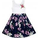 Dětské, dívčí společenské šaty s krajkou a květinovou sukýnkou