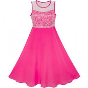 Dětské, dívčí společenské šifónové šaty vyšívané - sytě růžové