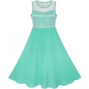 Dětské, dívčí společenské šifónové šaty vyšívané - tyrkysově modré