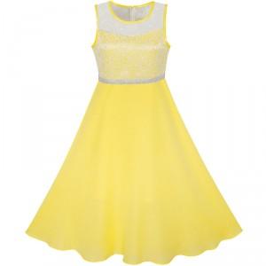 Dětské, dívčí společenské šifónové šaty vyšívané - žluté
