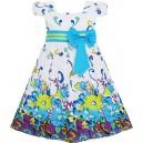 Dětské, dívčí šaty bílé s modrými květy a rukávky