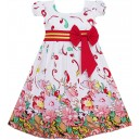 Dětské, dívčí šaty bílé s červenýmii květy a rukávky