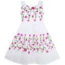 Dětské, dívčí letní bílé šaty s jemnými růžičkami