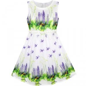 Dětské, dívčí letní bílé šaty s jemnými květy - fialové