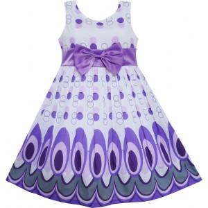 Dětské, dívčí letní šaty bílé s fialovými ornamenty