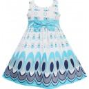 Dětské, dívčí letní šaty bílé s modrými ornamenty