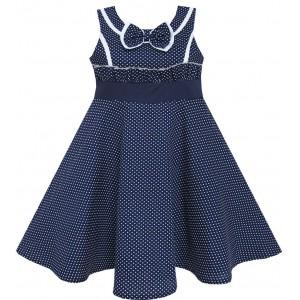 Dětské, dívčí letní šaty, tmavě modré s drobnými srdíčky