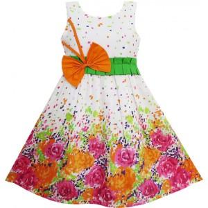 Dětské, dívčí letní šaty bílé s oranžovými květy a mašlí