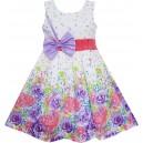 Dětské, dívčí letní šaty bílé s fialovými květy a mašlí