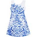 Dětské, dívčí letní šaty bílé s modrými kvítky
