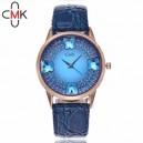 Módní dámské hodinky s koženým páskem a krystaly - 5 barev
