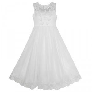 Dětské, dívčí společenské šaty, šaty na přijímání, šaty pro družičku - bílé
