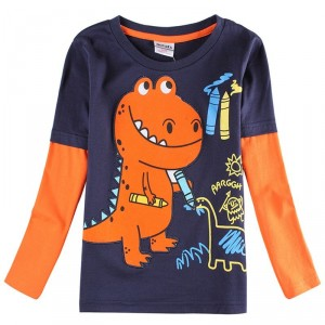 Dětské chlapecké tričko, triko s dlouhým rukávem s dinosaurem