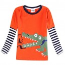 Dětské chlapecké tričko, triko s dlouhým rukávem s krokodýlem