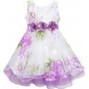 Dětské, dívčí společenské šaty bílé s fialovými květy pivoněk