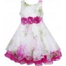 Dětské, dívčí společenské šaty bílé s růžovými květy pivoněk