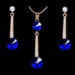 Luxusní set - náhrdelník + náušnice  modrý krystal