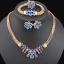 Luxusní 4 dílný set - zlatý masivní náhrdelník, náramek, náušnice + prsten modrý krystal