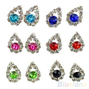 Dámské náušnice ve tvaru slzy s krystaly - 6 barev