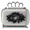 Luxusní společenská kabelka - stříbrná v dárkovém balení s krystaly