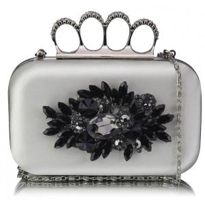 Luxusní společenská kabelka - stříbrná