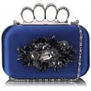 Luxusní společenská kabelka - tmavě modrá