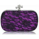 Luxusní společenská kabelka s krajkou - fialová