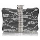 Luxusní společenská kabelka s krajkou a kamínky - černá