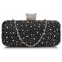 Luxusní společenská kabelka s kamínky - černá