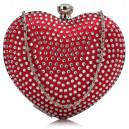 Luxusní společenská kabelka srdce s kamínky - červená
