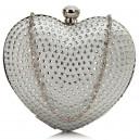 Luxusní společenská kabelka srdce s kamínky - stříbrná