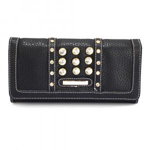 Elegantní dámská peněženka s velkými krystaly - černá