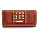 Elegantní dámská peněženka s velkými krystaly - hnědá