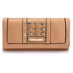 Elegantní dámská peněženka s velkými krystaly - béžová