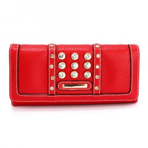Elegantní dámská peněženka s velkými krystaly - červená
