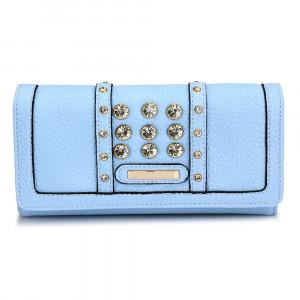 Elegantní dámská peněženka s velkými krystaly - jemně modrá