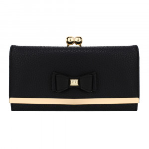 Elegantní kožená dámská peněženka s mašlí - černá
