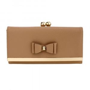 Elegantní kožená dámská peněženka s mašlí - béžová