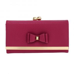 Elegantní kožená dámská peněženka s mašlí - švestková
