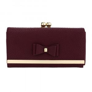 Elegantní dámská kožená peněženka s mašlí - vínově červená
