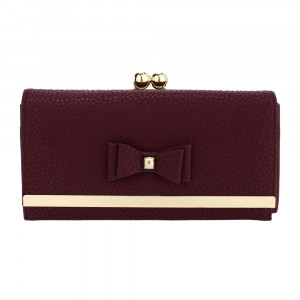 Elegantní dámská peněženka s mašlí - vínově červená